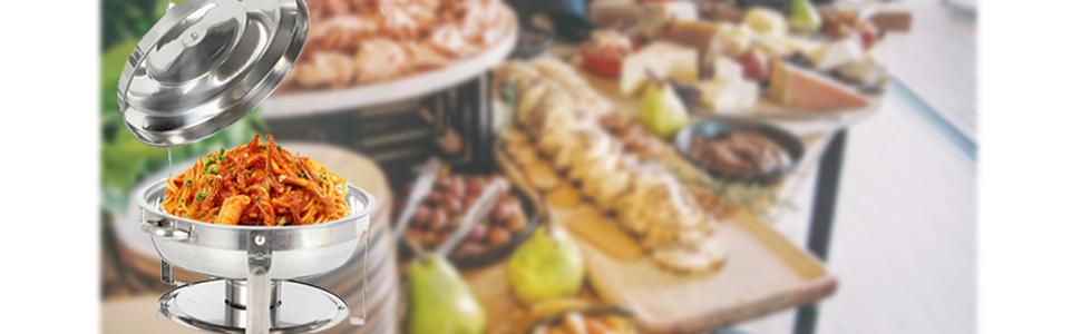 Chauffe-plat Chafing Dish Rond Buffets Chauffants En acier inoxydable 7.5 L