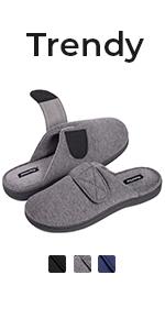 HomeTop Menamp;amp;amp;#39;s Comfy Knit Memory Foam Slip on Slipper with Adjustable Hook and Loop