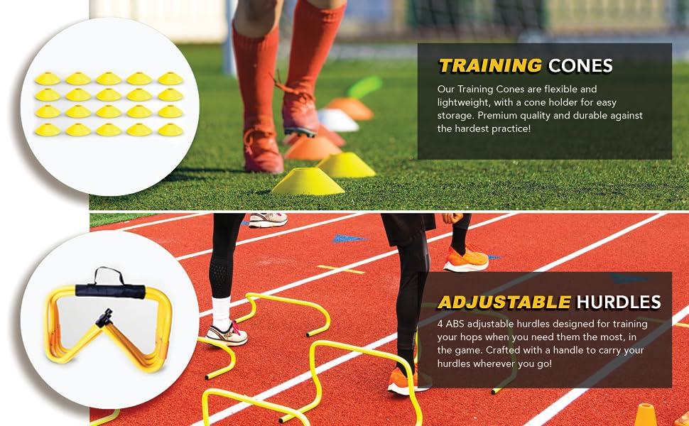 agility cones and hurdle