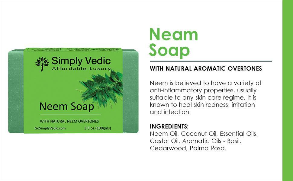 Neem Cold pressed Soap bar Vegan Soap Anti Bacterial inflamatory soap for men and women