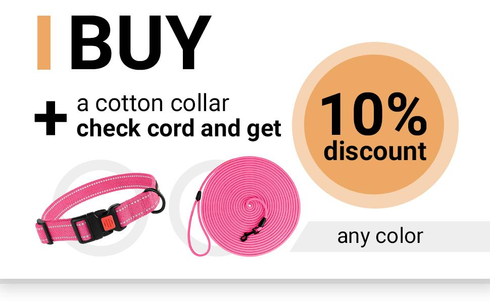 long dog leash check cord training rope braided pink black 30ft puppy walk large