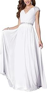 Aox Women Chiffon Wedding Bridesmaid Long Dress