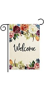 Floral Welcome Garden Flag