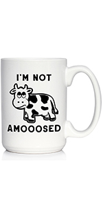 Text says I'm Not Amooosed, with design of a exasperated looking cow