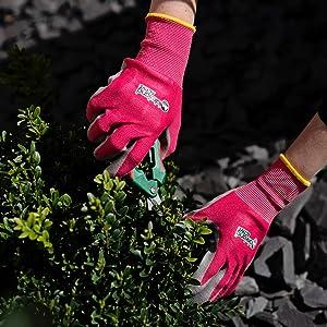 Orton all weather garden gloves gardening flexible waterproof nitrile coating comfortable weed seed