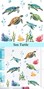 sea turtle wall stickers ocean theme decals seagrass coral