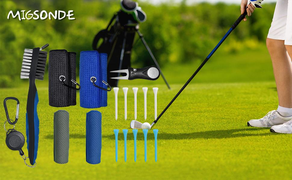 Golf Towel Golf Brush Cooling Towel Foldable Golf Divot Tool Golf Tees Golf Accsseories