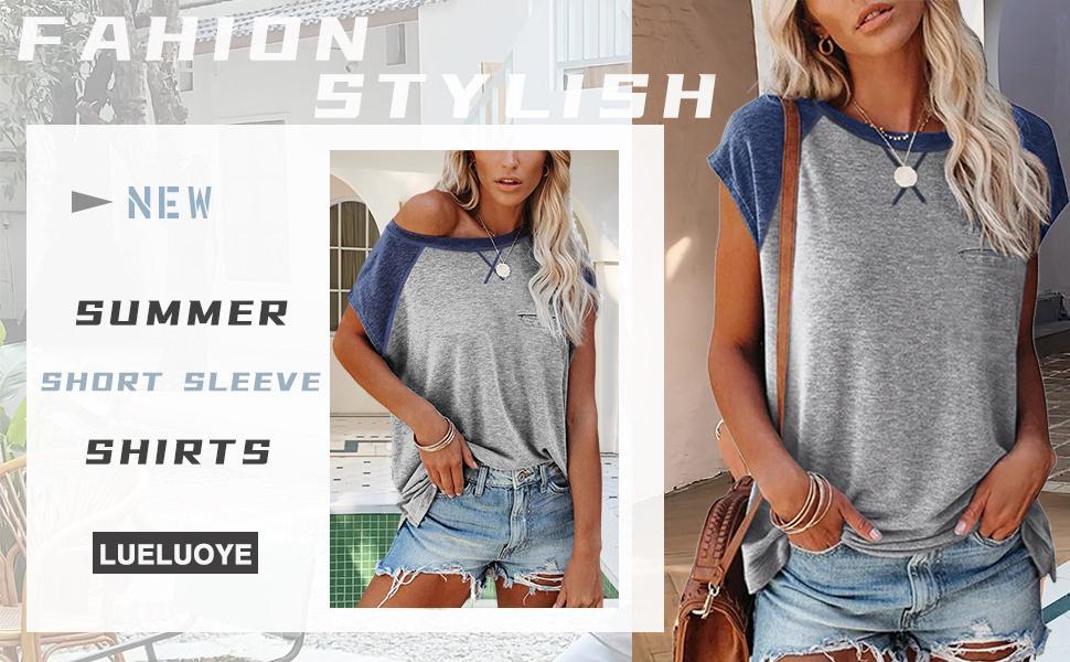 new womans shirts  color block sleeve pocket shirt tops