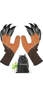 Brown gardening gloves