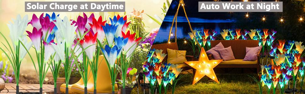 artificial solar Lily lights