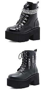 Women's Platform Chunky Block Heel Boots Chain Lace Up Ankle Boots Punk Boots