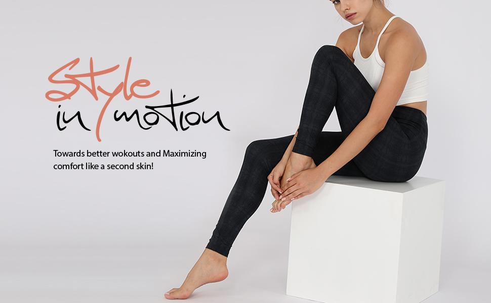 High Waist Yoga Leggings, Tummy Control Workout Running Compression Yoga Leggings with Inner