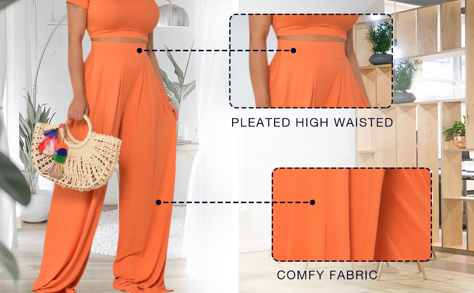 nqgsntc 2 Piece Outfits Women Formal Elastic Band High Waisted Long Pants Set Plaid Color