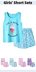 Boyoo Girl's 2 PCS Tank Top and Shorts Set Sleeveless Cute Graphics Outfits