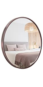 18 Inch Round Wall Mirror Rose Gold Metal Frame
