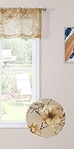 Tollpiz sheer valance flower leaf printed floral embroidered valances, beige, set of 1 panel