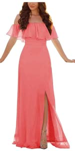 Off Shoulder Ruffle Maxi Dress for Women