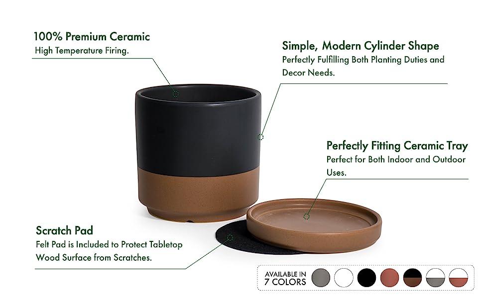 Indoor Cylinder Round Planter Pot for Plants