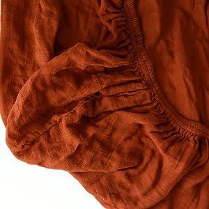 rust muslin sheet up close