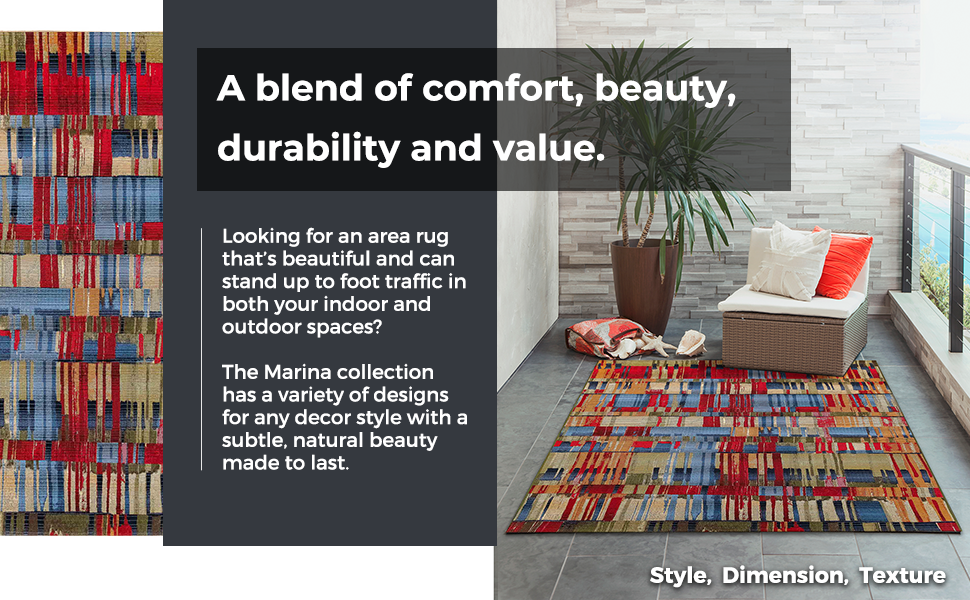 Wilton-woven in Egypt, this collection is 100% polypropylene,