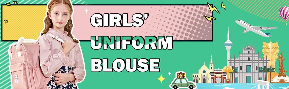 girls ruffle neckline uniform botton down shirts