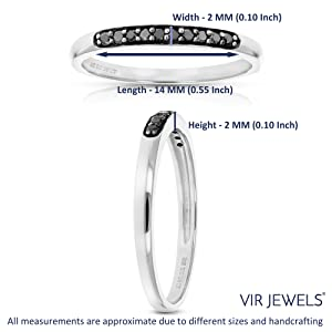 Vir Jewel Black Diamond Ring Wedding Band .925 Sterling Silver Prong Set Round