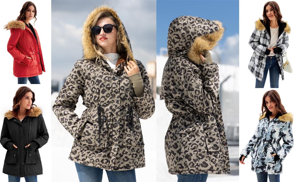 leopard Parka Coat Women