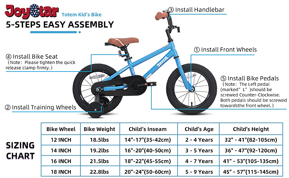 easy assembly and size chart