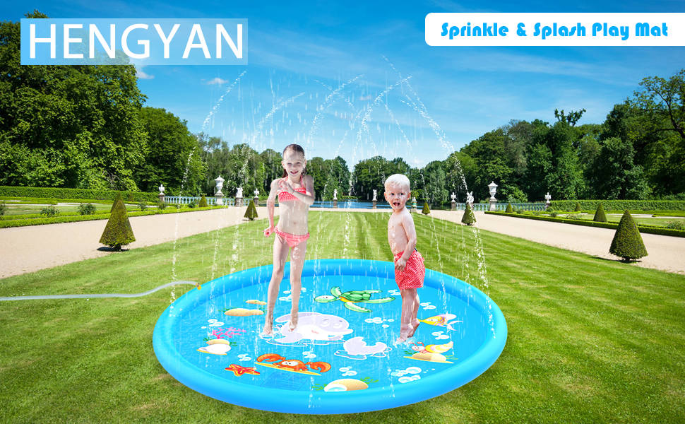 Children's sprinkling play mat designed with dolphin theme.