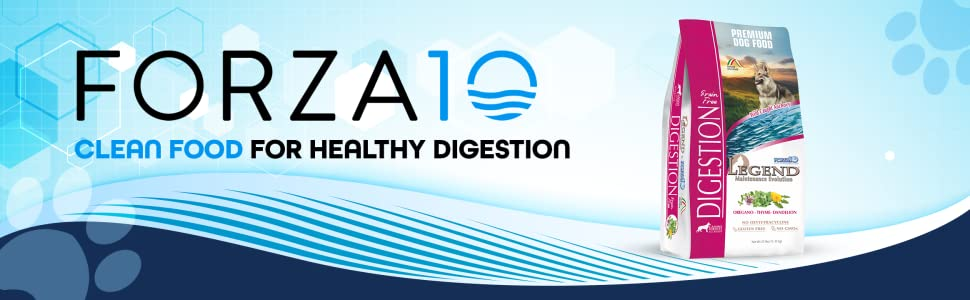 Forza10 Logo Clean Food for healthy digestion and the dry bag on the right