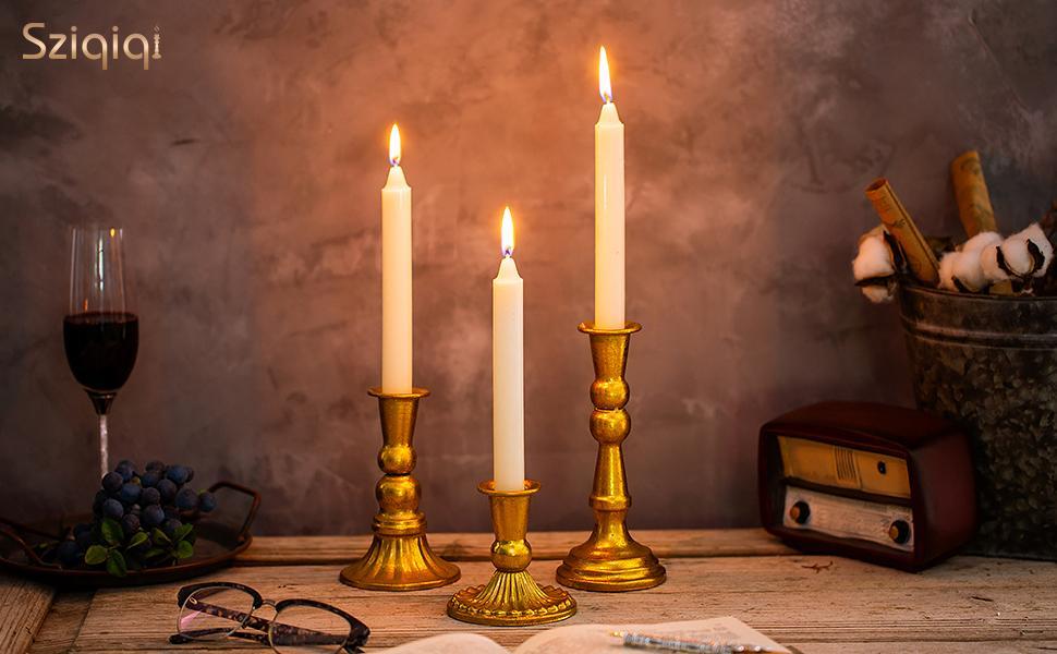 shabby candlestick holder gold