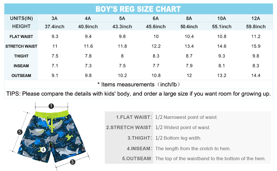The size chart of this boys swim trunks
