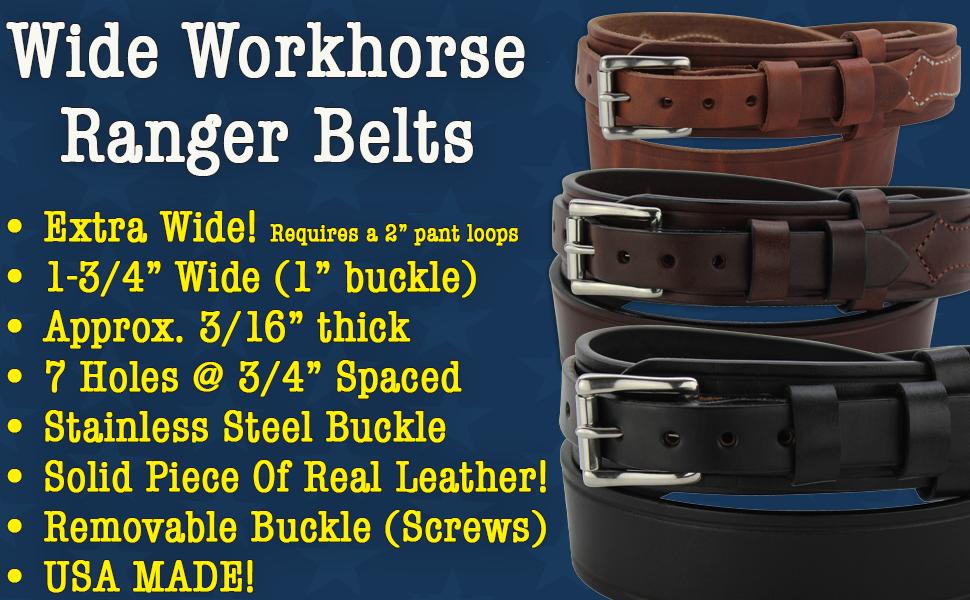 Leather Stitched Workhorse Ranger Belt 1.75 (8252)