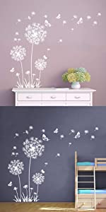 dandelion wall decals flower butterfly wall stickers floral wall decor