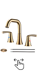 Brushed Gold 3 Hole Bathroom Faucet