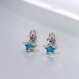 rainbow opal stud earrings