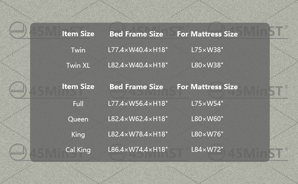 45MinST 18 Inch 3500lbs Heavy Duty Bed Frame in TWIN XL FULL QUEEN KING CAL CALIFORNIA