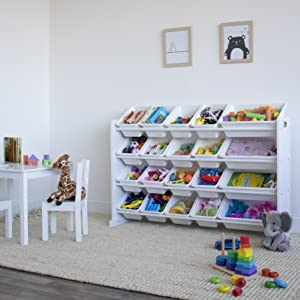 Playroom with white colored kids table amp;amp;amp;amp; chair set and 4-tiered shelf bookrack