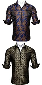 Mens luxury dress silk shirts casual button down wedding business