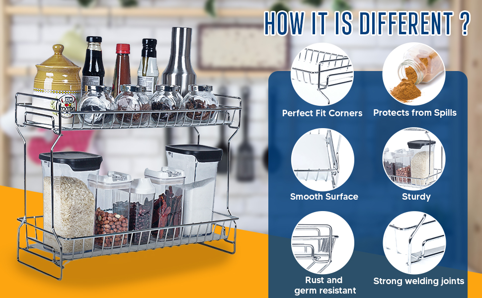 Slab Side Shelf Stand Storage Cabinet Organiser Basket Shelves- Foldable