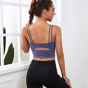 strappy seamless crop tank tops crisscross back medium support camisole