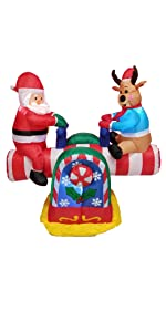 4 Foot Animated Christmas Inflatable Santa Claus and Reindeer on Teeter Totter