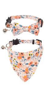 cat bowtie collar and bandan collar set