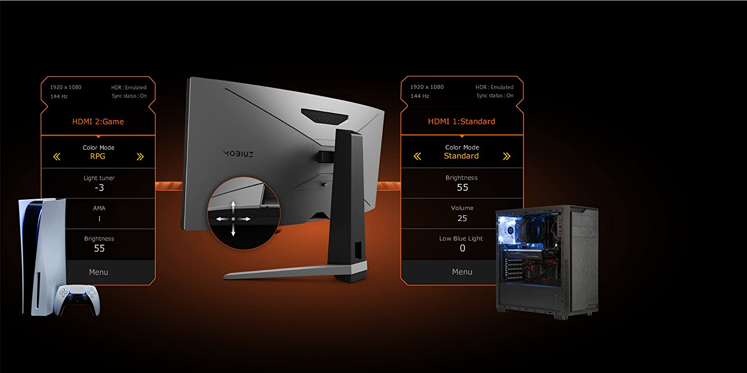 benq ex3415r mobiuz gaming monitor automatically adjusts the setting when you change input