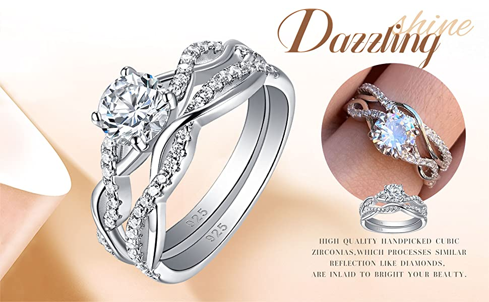 sheloves jewellery wedding engagement ring set for women 925 sterling silver cubic zirconia cz gift