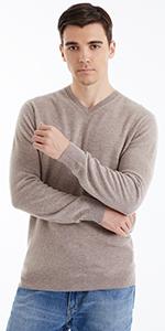 100% Merino Wool Camel V-Neck Sweaters for Men