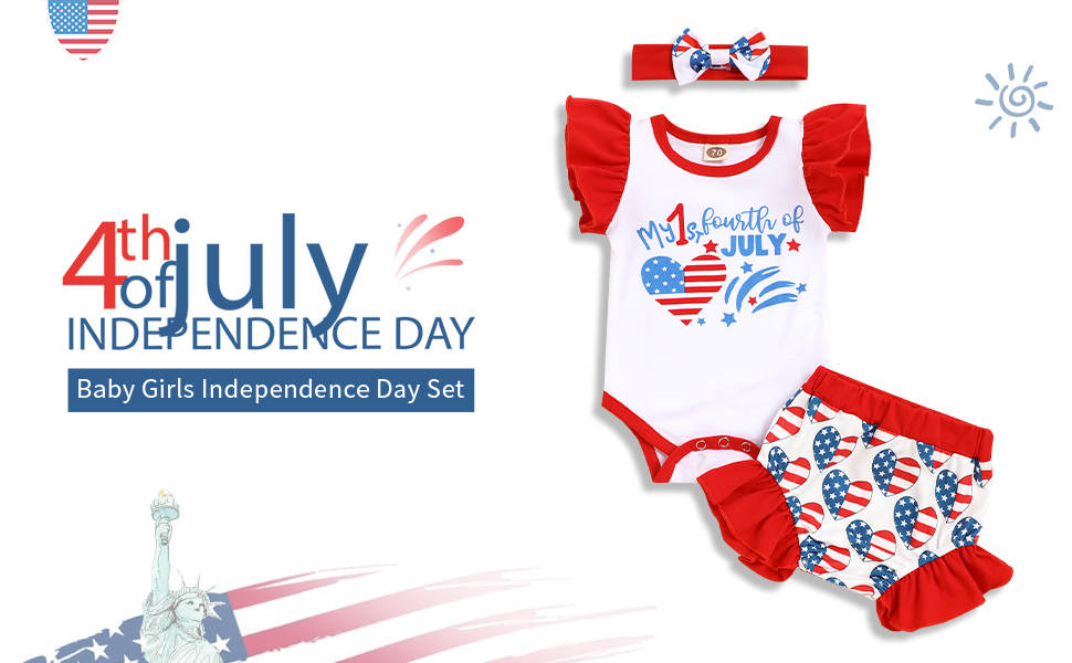 newborn toddler baby girl summer clothes my 1st 4th of july outfits