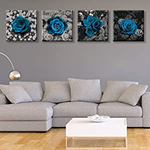 Canvas Wall Art for Bedroom Room Blue Fairy Flower Black and White Wall Art Paint for Living Room Bathroom Home Decoration Ready to Hang 12×12 inch/piece, 4 Panels