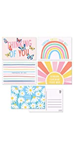 5 design postcards for friends and family cute colorful designs