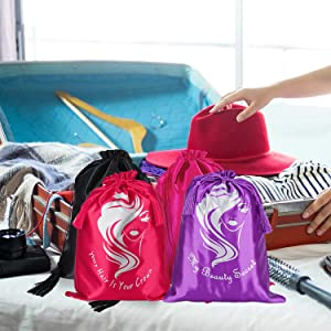 You can carry the satin packing bags in your travel for storing hair extensions or shoes